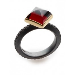 Square Garnet Cabochon Ring
