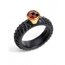 Round Garnet Ring (6mm) wide