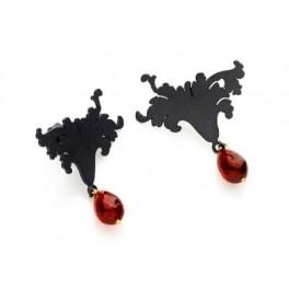 Rococo Silhouette Garnet Earrings