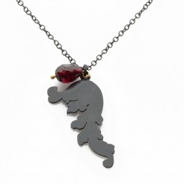 Intricate Silhouette Pendant with Garnet