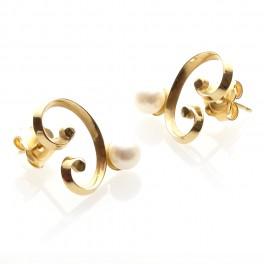 Gold Pearl Swirl Earrings