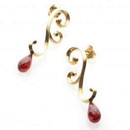 Gold Garnet Swirl Earrings