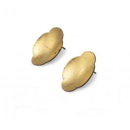 Gold Leaf Long Domed Earrings