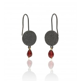 Embossed Brocade Garnet Drop Earrings