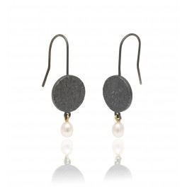 Embossed Brocade Pearl Drop Earrings