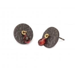 Embossed Brocade Garnet Stud Earrings
